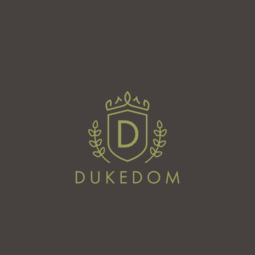 Initials letter D logo business vector template. Crown and shield shape. Luxury, elegant, glamour, fashion, boutique for branding purpose. Unique classy concept.
