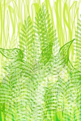 Spring garden lines, grass, leaves and flowers, co ordinate with Kawaii theme animals, or garden background use