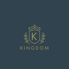 Initials letter K logo business vector template. Crown and shield shape. Luxury, elegant, glamour, fashion, boutique for branding purpose. Unique classy concept.