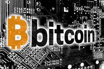 Bitcoin mit Leitplatine Konzept Hintergrund