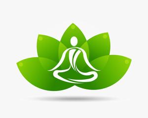 Yoga Lotus Flower Logo Illustration