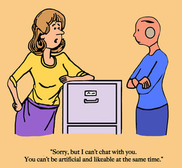 A woman office worker asks for help and is given a robot assistant.