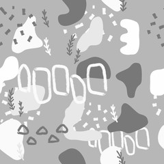 Silver abstract modern and stylish digital background with different shapes. Memphis silver pattern. Creative forms.