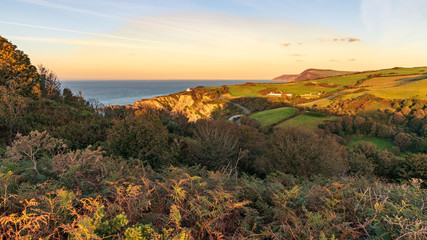 Near Ilfracombe, Devon, England, UK - view from Hillsborough Hill towards Hele Bay
