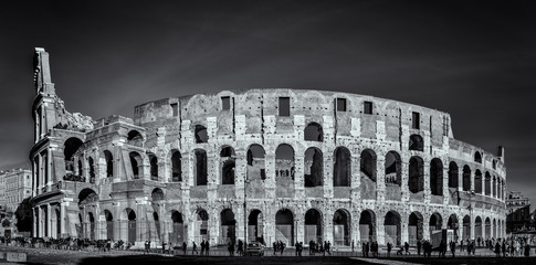 The Colosseum in Rome - Panorama view in black and white