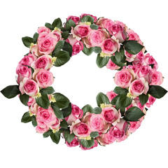 Beautiful pink and white rose wreath with leaves arranged and isolated over a white background. Image shot from top view.