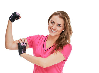 Portrait of attractive healthy smiling woman showing biceps