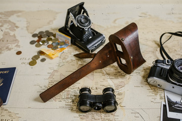 vintage map, film cameras, antique binoculars