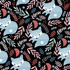Seamless woodland pattern with sleeping fox and floral elements . Creative kids for fabric, wrapping, textile, wallpaper, apparel. Vector illustration