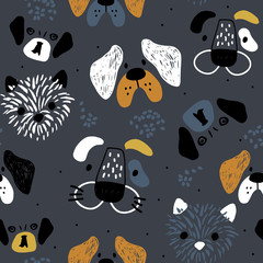 Childish seamless pattern with hand drawn dog's faces. Trendy scandinavian vector background. Perfect for kids apparel,fabric, textile, nursery decoration,wrapping paper