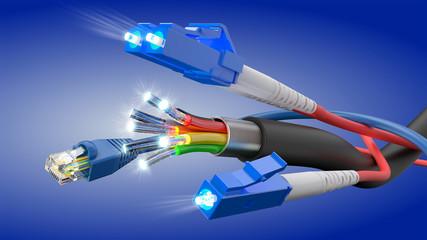 Optisches Glasfaser Kabel, 3D Rendering