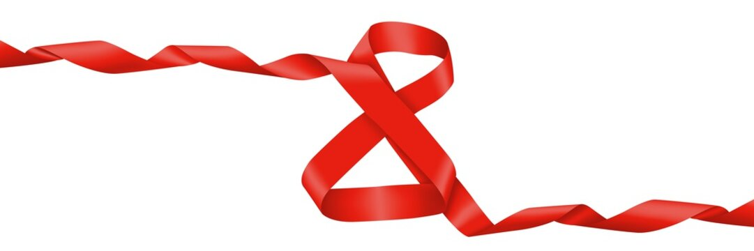 March 8. International women day. Figure eight of the red ribbon
