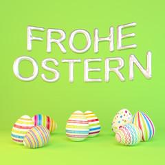 Frohe Ostern - 8 farbenfrohe, bemalte Ostereier auf grünen Hintergrund - Folienballons - Oster