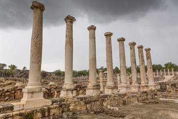Columns at Remains of the destryed roman city of Beit She'an in the same National Park