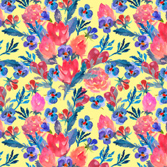 Watercolor design. Seamless pattern. Floral elements.