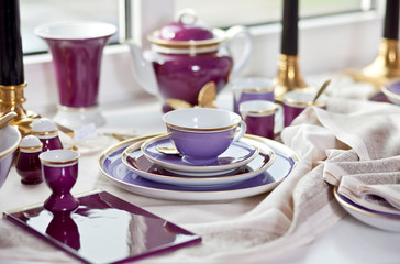 luxury coffee plate set still life