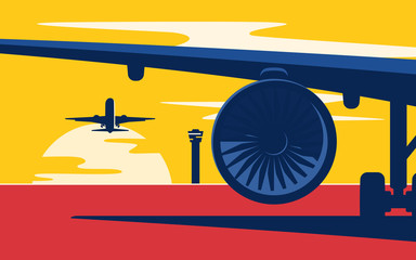 Takeoff. Flat style vector illustration of the airliners at suns