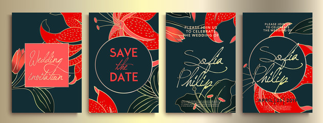 Wedding invitation with flowers and leaves on dark texture. luxury card on blue backgrounds, artistic covers design, colorful texture.  Luxury wedding invitation frame set