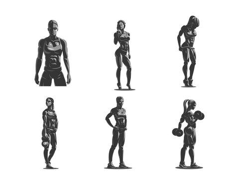 Woman fitness emblem set.