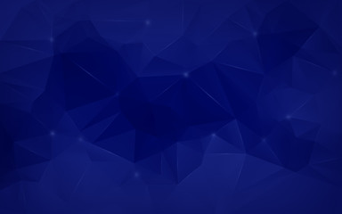 High resolution dark blue polygon mosaic vector background. Smooth abstract 3D triangular low poly style gradient background.