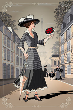 A girl with an umbrella and a bouquet of roses on Paris street. Belle Epoque vintage poster from Paris.