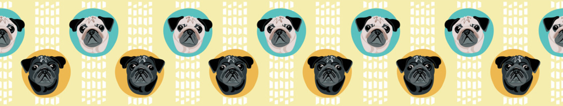 Cute cartoon pug faces in polka dot seamless border, Turquoise and yellow vector design great for tea towels, washi tape, ribbon, fabric edging dog supplies, groomers, dog walkers all all pug lovers!