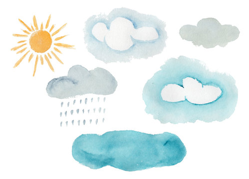 Cute colorful watercolor weather elements. Hand painted decorative clouds, rain drops, yellow sun for kids print design, patterns, stickers, apps and books decoration