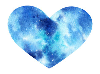 Hand painted watercolor space illustration in shape of a heart .