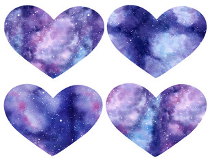 Set of Watercolor galaxy hearts isolated on the white background.