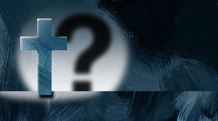 Christian cross with question mark cast shadow spotlight graphic background
