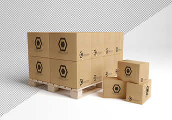 Stacked Cardboard Boxes on a Pallet Mockup