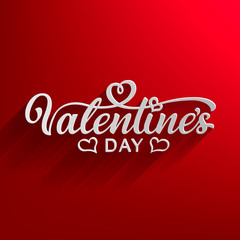 Happy Valentines Day, beautiful inscription with shadows on an elegant background. Handwritten, calligraphic text Valentine's Day. Vector Illustration - Vector