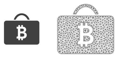 Polygonal mesh bitcoin case and flat icon are isolated on a white background. Abstract black mesh lines, triangles and dots forms bitcoin case icon.
