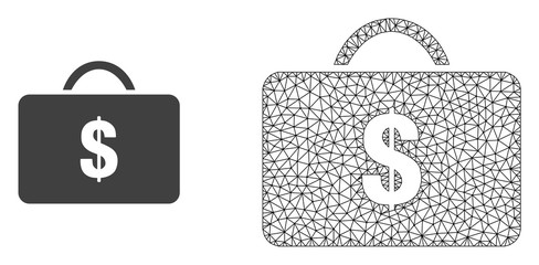Polygonal mesh business case and flat icon are isolated on a white background. Abstract black mesh lines, triangles and dots forms business case icon.