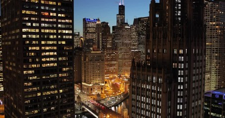 Fototapete - Chicago downtown skyline buildings