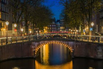 Beautiful blue hour over Amsterdam canal