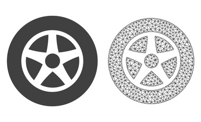 Polygonal mesh car wheel and flat icon are isolated on a white background. Abstract black mesh lines, triangles and dots forms car wheel icon.