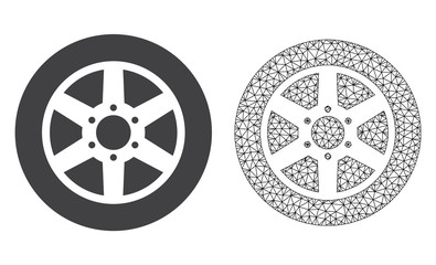 Polygonal mesh car wheel and flat icon are isolated on a white background. Abstract black mesh lines, triangles and nodes forms car wheel icon.