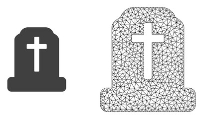 Polygonal mesh cemetery and flat icon are isolated on a white background. Abstract black mesh lines, triangles and dots forms cemetery icon.