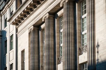 columns on building exterior - historical building facade  -