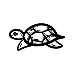 Beautiful hand drawn fashion turtle icon. Hand drawn black sketch. Sign / symbol / doodle. Isolated on white background. Flat design. Vector illustration
