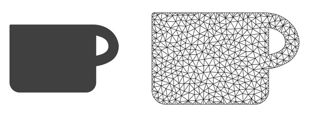 Polygonal mesh cup and flat icon are isolated on a white background. Abstract black mesh lines, triangles and dots forms cup icon.