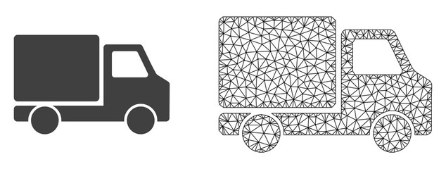Polygonal mesh delivery car and flat icon are isolated on a white background. Abstract black mesh lines, triangles and dots forms delivery car icon.
