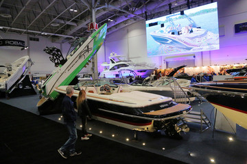 People view a Chris-Craft powerboat at the Toronto Boat Show