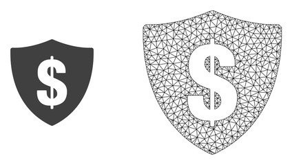 Polygonal mesh dollar shield and flat icon are isolated on a white background. Abstract black mesh lines, triangles and nodes forms dollar shield icon.