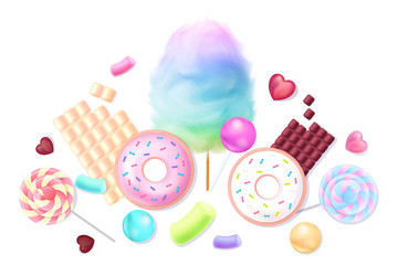 Collection of realistic sweets
