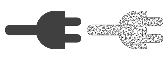 Polygonal mesh electric plug and flat icon are isolated on a white background. Abstract black mesh lines, triangles and dots forms electric plug icon.