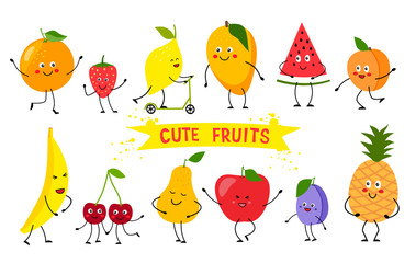 Set of cute kawaii fruit. Cartoon fruits character