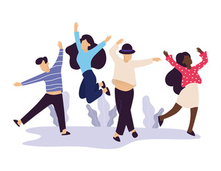 Set of young men and women dancing. Male and female characters having fun at party. Flat colorful vector illustration. - Vector