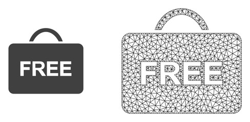 Polygonal mesh free case and flat icon are isolated on a white background. Abstract black mesh lines, triangles and dots forms free case icon.
